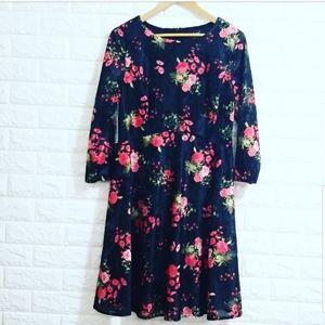 ECI Black & Rose Print Mini Dress
